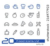 food icons   set 1 of 2    line ... | Shutterstock .eps vector #216977923