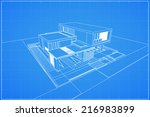 wireframe blueprint drawing of... | Shutterstock .eps vector #216983899