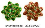 Christmas gift bows isolated on white (top down shot) - stock photo
