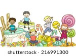 illustration featuring kids... | Shutterstock .eps vector #216991300