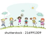 illustration featuring kids... | Shutterstock .eps vector #216991309