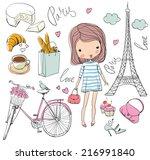 Vector Set Of Paris. Girl.