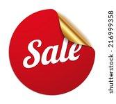 red round sale sticker on white ... | Shutterstock .eps vector #216999358