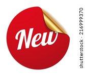 red round new sticker on white... | Shutterstock .eps vector #216999370