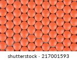 red pills arranged in honeycomb ... | Shutterstock . vector #217001593