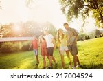 group of six teenage friends... | Shutterstock . vector #217004524
