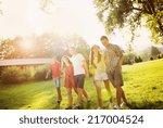 group of six teenage friends... | Shutterstock . vector #217004524