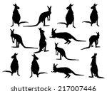 kangaroo vector silhouette set  ... | Shutterstock .eps vector #217007446