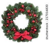 christmas wreath with red... | Shutterstock . vector #217016830