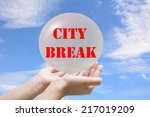 business man writing city break | Shutterstock . vector #217019209