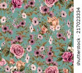seamless floral pattern with ... | Shutterstock . vector #217023334