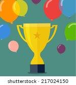 victory golden cup   flat... | Shutterstock .eps vector #217024150