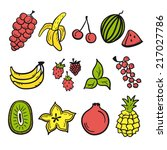 fruit set colored | Shutterstock .eps vector #217027786