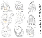 funny abstract hand drawn zoo...   Shutterstock .eps vector #217036708