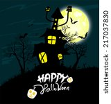 halloween night background with ... | Shutterstock .eps vector #217037830