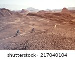 two mountain bikers in the... | Shutterstock . vector #217040104
