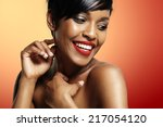 smiling black woman on a bright ... | Shutterstock . vector #217054120