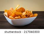 Potato Chips Bowl On Table