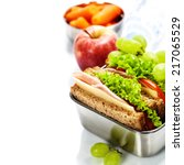 lunch box with sandwich  fruits ... | Shutterstock . vector #217065529