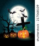happy halloween poster. vector... | Shutterstock .eps vector #217068109