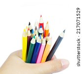 color pencil in hand on white... | Shutterstock . vector #217071529