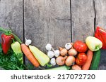fresh vegetables on vintage... | Shutterstock . vector #217072720