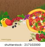 wooden background with pizza | Shutterstock .eps vector #217102000
