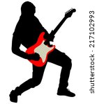 young guitarist plays on the...   Shutterstock .eps vector #217102993