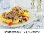 steak poke made with tomato ... | Shutterstock . vector #217105090