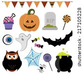 halloween set | Shutterstock .eps vector #217105228