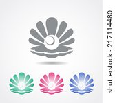 vector shell icon with a pearl... | Shutterstock .eps vector #217114480