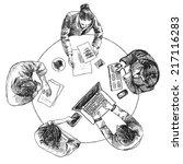 business team meeting concept... | Shutterstock .eps vector #217116283