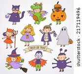 cute cartoon children in... | Shutterstock .eps vector #217119496