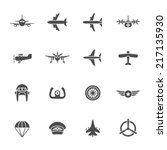 aviation icon set | Shutterstock .eps vector #217135930