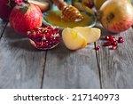 pomegranate  apple and honey ... | Shutterstock . vector #217140973