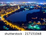 Small photo of Night cityscape , Bucharest, Romania, cityscape, high view