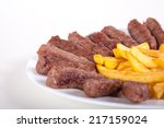 grilled dish of minced meat... | Shutterstock . vector #217159024