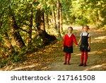 children kid girls walking to... | Shutterstock . vector #217161508