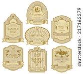 set of vector labels beige gold ... | Shutterstock .eps vector #217162279