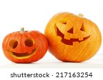 Stock photo two cute halloween pumpkins isolated on white background 217163254