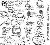 doodle sport equipment. vector... | Shutterstock .eps vector #217174510