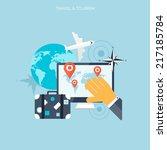 world travel concept background.... | Shutterstock .eps vector #217185784