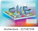 isometric town view with... | Shutterstock .eps vector #217187158