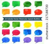 watercolor speesh bubbles.... | Shutterstock .eps vector #217188730