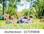 young happy family lying in...   Shutterstock . vector #217190848