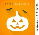 simple happy halloween card... | Shutterstock .eps vector #217194970