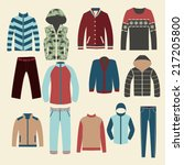 winter clothes group of objects ... | Shutterstock .eps vector #217205800