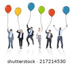 playful business people holding ... | Shutterstock . vector #217214530