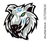 wolf head with mascot cartoon... | Shutterstock .eps vector #217233610