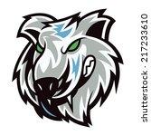 wolf head with mascot cartoon...   Shutterstock .eps vector #217233610